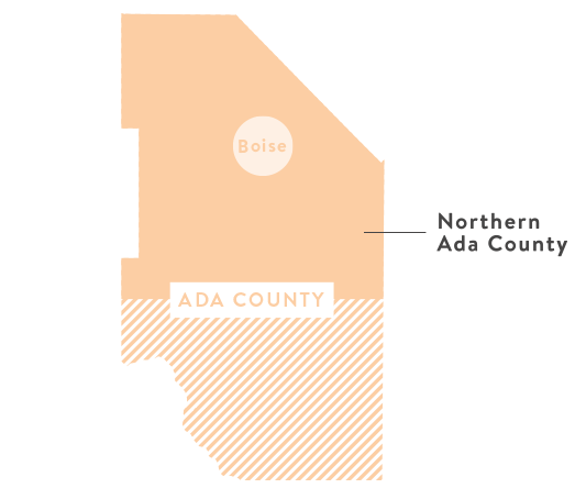 Map showing Northern Ada County
